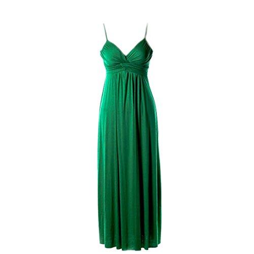 Crazy4Bling Green Spaghetti Strap Maxi Dress with Twist Shirring Detail, Medium