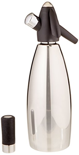 iSi Stainless Steel 1 quart Soda Siphon Bottle, Silver Isi Black Silicone
