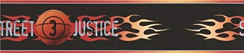 BZ9422B Street Justice Basketball Flames Black Wallpaper Border 5.5
