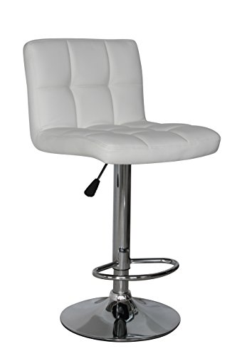 IntimaTe WM Heart Adjustable Swivel Bar Stools Set Of 2, Faux Leather Gas Lift Modern Square Kitchen Chairs With Back (White)