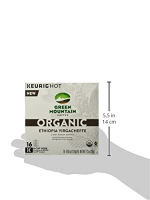 Green Mountain Coffee Organic Ethiopia Yirgacheffe Keurig K-Cups, 16 Count