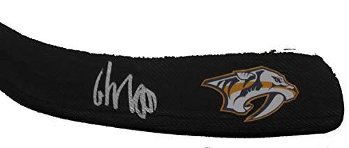 Roman Josi Autographed Nashville Predators Logo Stick Blade W/PROOF, Picture of Roman Signing For Us, Nashville Predators, 2019 NHL All Star, Team Switzerland
