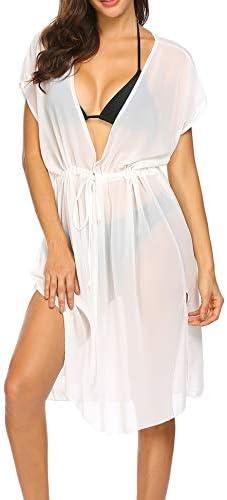 Ekouaer Women's Summer Bikini Cover Up Sexy Sheer Swimwear Long Chiffon Beach Dress