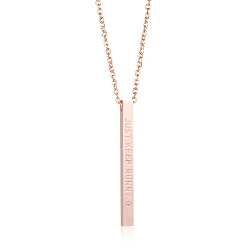Joycuff Runner Gift Encouragement Jewelry for Women Vertical Bar Necklace Just Keep Running