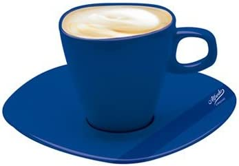 Alfredo Milchkaffeetassen mit Untertassen blau Walk/üre 6 St/ück