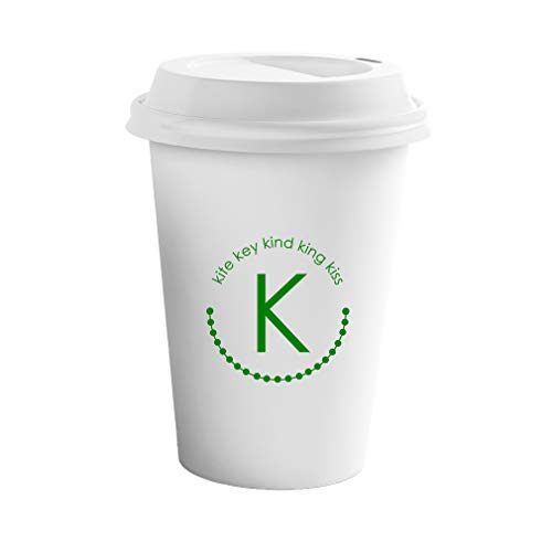 Style In Print Forest Green Alphabet K, Kite Key Kind King Kiss Ceramic Coffee Tumbler Travel Mug