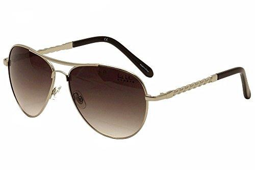 Nicole Miller Women's Corinth C02 Silver/Black Fashion Aviator Sunglasses 62mm