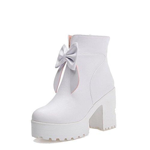 Allhqfashion Women's Solid PU High-Heels Zipper Round Closed Toe Boots White HVfeaJPC