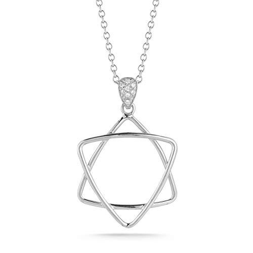 I REISS 14K White Gold 0.05ct TDW White Diamond Star of David Judaica Pendant ()
