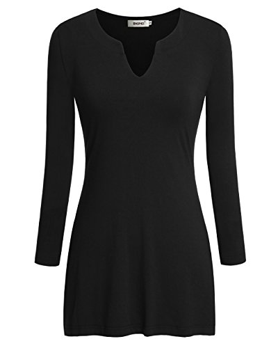 Bepei Women V Neck Long Sleeve Knit Tops Business Casual Blouses Shirts Black L (90s Shirt Western)