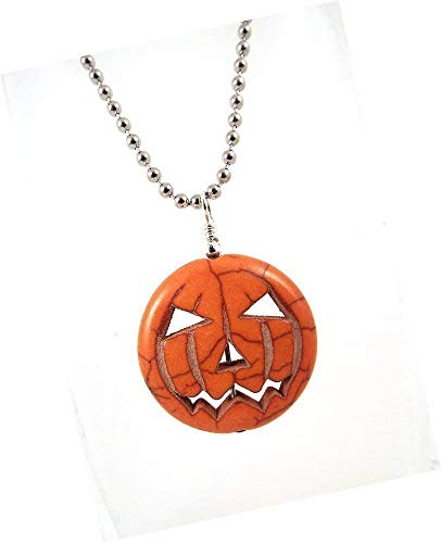 Jack O Lantern Pumpkin Gemstone Pendant Necklace on Silver Toned Ball Chain Halloween -