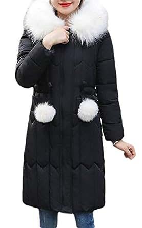 Macondoo Women Casual Outwear Cotton-Padded Hoodie Puffer Down Jacket Black XS