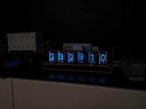 NovelLife Elekstube LED Digital Clock,6 Bit RGB Glow Vintage Desk Clock  Stopwatch,DIY Nixie Tube Clock Kit Simulation,12 and 24 Hours Display,5V  Micro