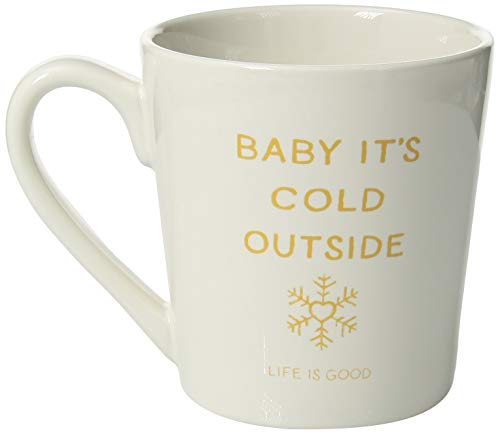 Life is Good Coffee Mug Everday Collection,Snowflower,Cloud White,One Size