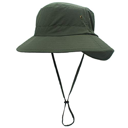 (LLmoway Women Foldable Summer Hiking Hat UV Protection Bucket Hat Quick Dry Outdoor Cap Army Green)