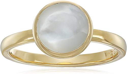 18K Yellow Gold-Plated .925 Sterling Silver Mother of Pearl 8mm Round Bezel-Set Ring - Size 7