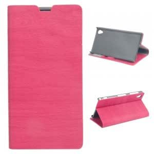 High-tech Hot-pressing Plastic + PU Leather Protective Case with Wood Lines for Sony L39h Rose Red