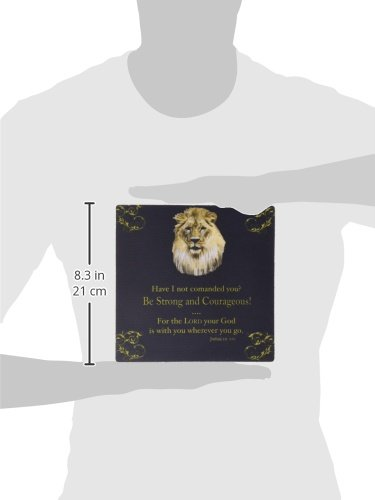 """3dRose LLC 8 x 8 x 0.25 Inches Mouse Pad, Joshua 1 Verse 9 """"Be Strong and Courageous"""" Lion in Gold on Black (mp_42588_1)"""