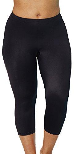 Aquabelle Women's Plus Size Chlorine Resistant Capri 22 Black