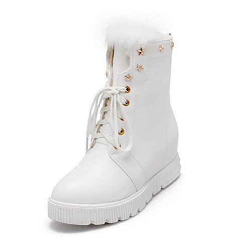 WeenFashion Women's Round Closed Toe PU Lace-Up Kitten-Heels Low-Top Boots, White, 42 (White Boot Tops)