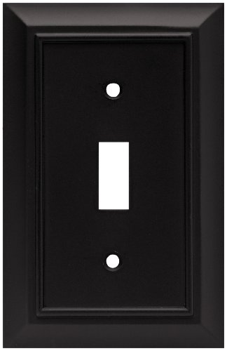 (Brainerd 64219 Architectural Single Toggle Switch Wall Plate / Switch Plate / Cover, Flat Black)