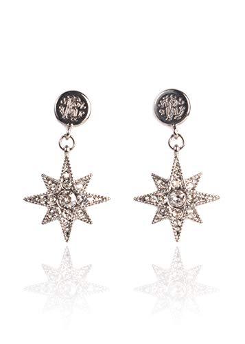 (Roberto Cavalli Women Silver Swarovski Star Stud Earrings~RTL$1150)