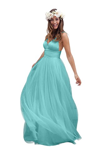 Irenwedding Women's Spaghetti Ruched Empire Waist Open Back Beach Wedding Dress Aqua (Empire Waist Sash)