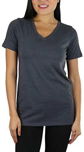 ToBeInStyle Women's Cotton Blend V-Neck Relaxed Fit T-Shirt - Ash Grey - - T-shirt Cute Ash Grey