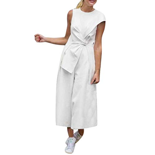 (Womens Cap Sleeve Cocktail Wide Leg One Piece Jumpsuit Romper Playsuit Party Jumpsuits with Belt Pleated Detail White)