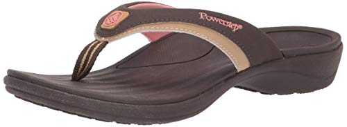 Powerstep Women's Fusion Flip-Flop Sandals - Orthotic Sandal with Built-In Arch Support for Plantar Fasciitis and Flat Feet,brown,Women's Size 9 Regular -