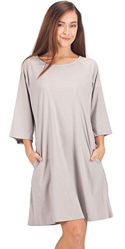 Stretch Cotton Sleepshirt (WEWINK CUKOO Women Pockets Nightshirt 3/4 Sleeves Cotton Sleep Dress)