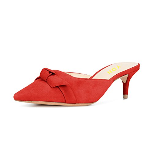 YDN Womens Low Heels Slide Sandals Pointed Toe Kitten Mules Slip on Pumps with Chic Bow Red 10 (Mule Kitten)