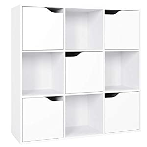 Homfa Meuble de Rangement Bibliothèque Etagère en Bois (9 Cubes)