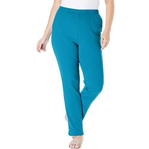 Woman Within Women's Plus Size Petite 7-Day Knit Straight Leg Pant - Laguna Blue, L