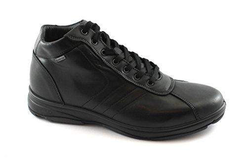 IGI&Co Sportlich Elegantes Leder 87110 Schwarze Schuhe Männer Mitte Gore-Tex Schnürsenkel Nero