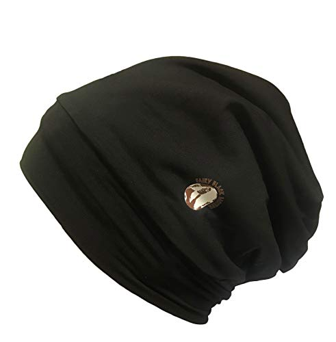 Fairy Black Mother Satin Lined Comfy Hair Cap for All Hair Types and locs (Black)