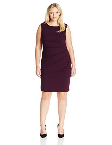 Calvin Klein Women's Plus Size Sleeveless Starburst Sheath Dress, Aubergine 16, 22 ()