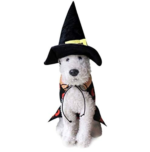 Taka Co Dog Halloween Costume Dog Costume Cloth Halloween Party Wizard Cloak with Hat Doggy Funny Festival Clothes Cat Dog Jacket Vest Size M