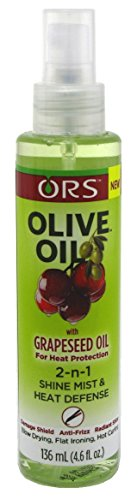 Ors Olive Oil With Grapeseed Oil 2-N-1 Shine Mist & Heat Defense 4.6 Ounce (136ml) (3 Pack)