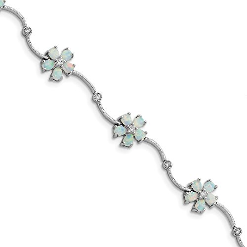 Hawaiin Flowers Blue (925 Sterling Silver 7 Inch Created Opal Cubic Zirconia Cz Flower Bracelet Gemstone Fine Jewelry For Women Gift Set)
