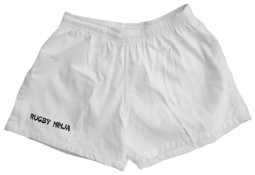 White Rugby Shorts - Cotton Pocketed Rugby Shorts (XXL, White)