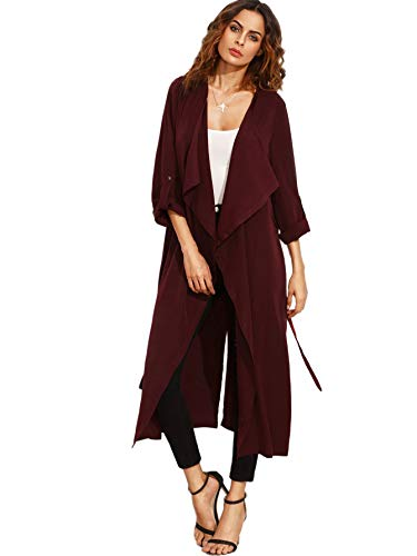 Milumia Women's Waterfall Collar Long Sleeve Back Tie Wrap Trench Coat Cardigan Outerwear Burgundy X-Large