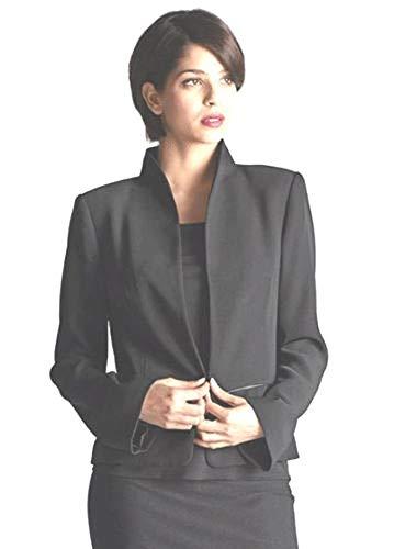 Eileen Fisher Viscose Nylon Black Jacket Leather Trim L MSRP $478.00