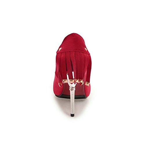 YE Damen Spitze High Heels Stiletto Pumps mit Fransen und 10cm Absatz Elegant Schuhe Rot