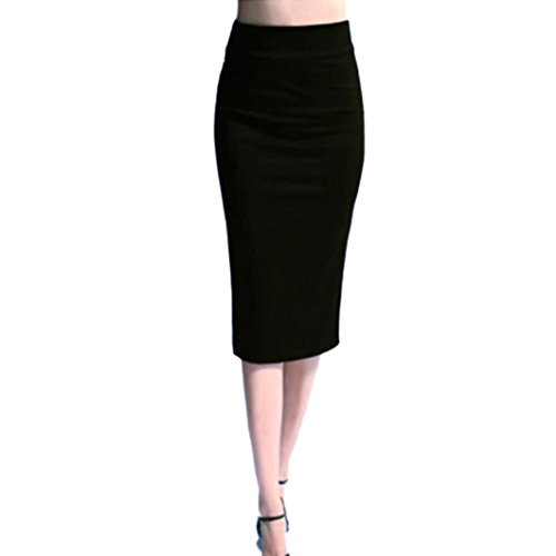 Hemlock Stretchy Skirts Women, Office Lady Skirts Dress Slim High Waist Skinny Pencil Skirts (L, Black)