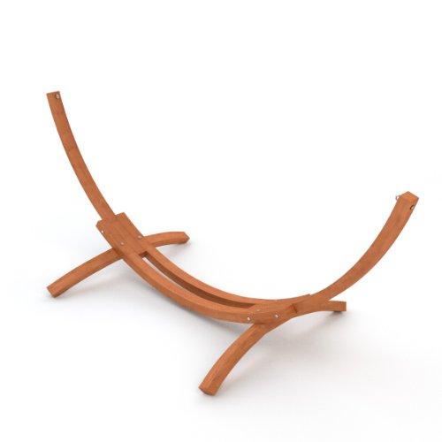 Hängemattengestell 310 cm | vorbehandeltes, wetterfestes Holz sibirische Lärche | Mauritius braun | ohne Hängematte