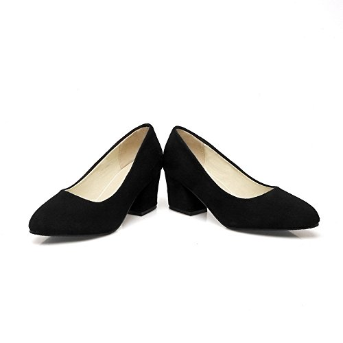 Balamasa Dames Chunky Talons Chunky Talons Pull-on Givré Pompes-chaussures Noir