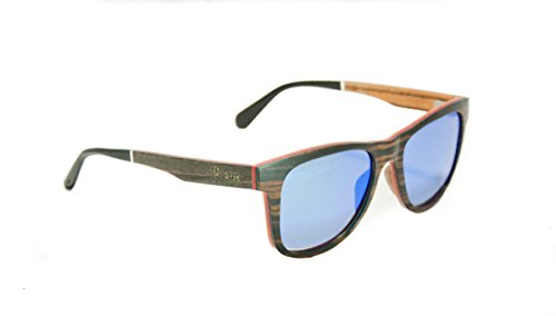 PLANK Eyewear - Scuffletown - Striped Ebony layered with Maple and Zebra Wood - Blue Mirrored - Sunglasses Zebra Striped
