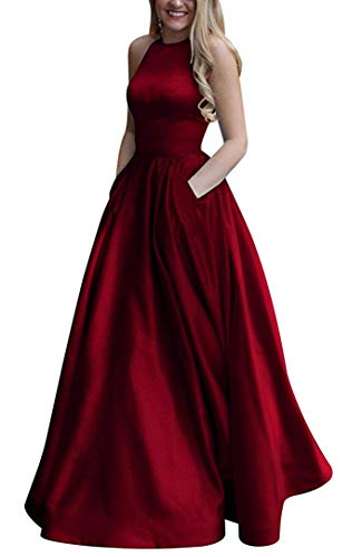 (Women's Long Halter Satin Prom Dresses A Line Open Back Evening Gowns with Pockets Burgundy US10)