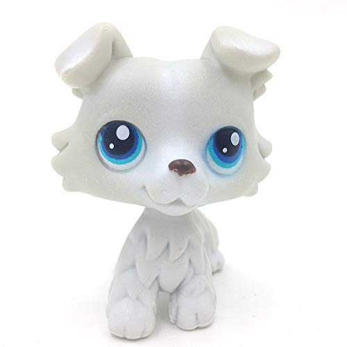 mipsl Action Figures Grey Collie Dog Blue Eyes Kids Toy Gift 363 -